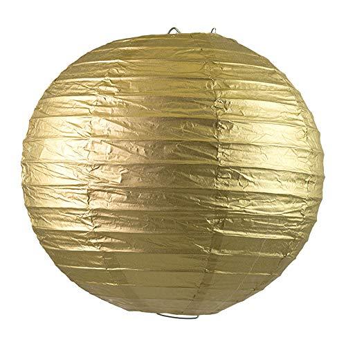 Creativery 10 Lampions 20cm Set Laterne Hochzeit Party Wohnungsdeko Hängedeko Raumdeko Geburtstag Feier Gold metallic