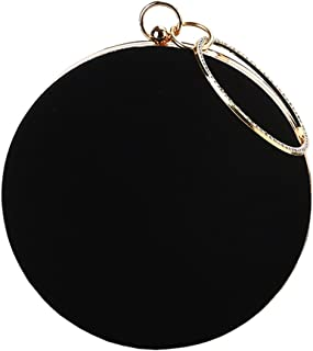 Womens Round Clutch Evening Handbag Jeweled Ring Top-handle Party Bag