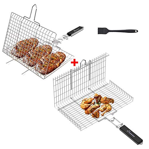 WolfWise Portable Grilling Basket BBQ Barbecue Tool Work for Fish Vegetable Steak Meat Shrimp Chops,Made of Durable 430 Stainless Steel Set