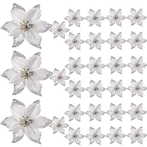 WILLBOND 30 Stücke Glitter Christbaum Ornament Künstliche Hochzeit Weihnachtsstern Blumen für Weihnachtsblumen Baum Kränze Dekor Ornament (Silber)