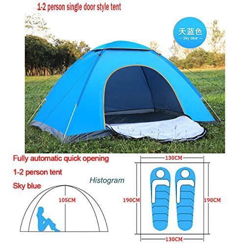 KGLOPYE Zelt Automatisches Aufklapp-Campingzelt für Familien im Freien 1 2 3 4 Personen Mehrere Modi Leichtes, offenes Lagerzelt Ultraleichte Sofortbeschattung, Blau 1,2 Mann