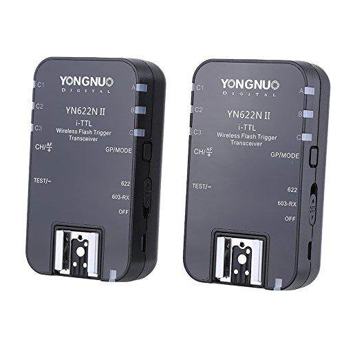 YONGNUO kabelloser i-TTL-Blitzauslöser, YN622N II, 2,4 G, Empfänger-Sender-Kombination für Nikon D70-, D80-, D90-, D200-, D300-, D600-, D700-, D800-,...