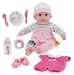 "Isn't she the cutest?  She is a 15"" realistically looking SOFT BODY DOLL with amazingly detailed vinyl head, arms, and legs. Featuring OPEN AND CLOSE EYES. GIFT SET includes a2 piece embroideed OUTFIT, an EXTRA OUTIFT a Pair of Adorable SHOES, BABY B..."