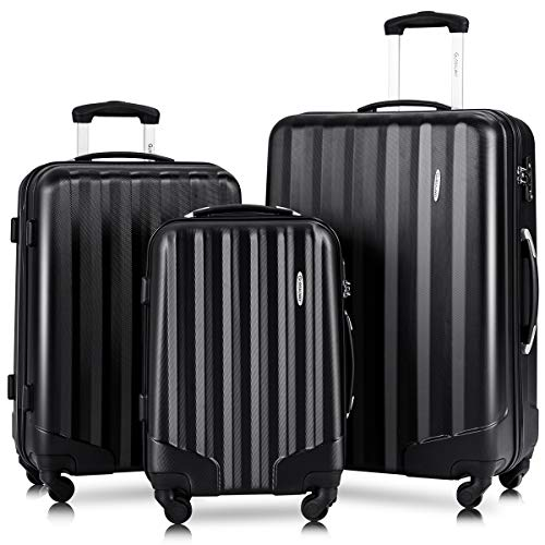Goplus 3Pcs Luggage Set, Hardshell Travel Suitcase, 20' 24' 28' ABS Travel Trolley Case w/TSA Lock, Durable Lightweight Suitcase (Black)
