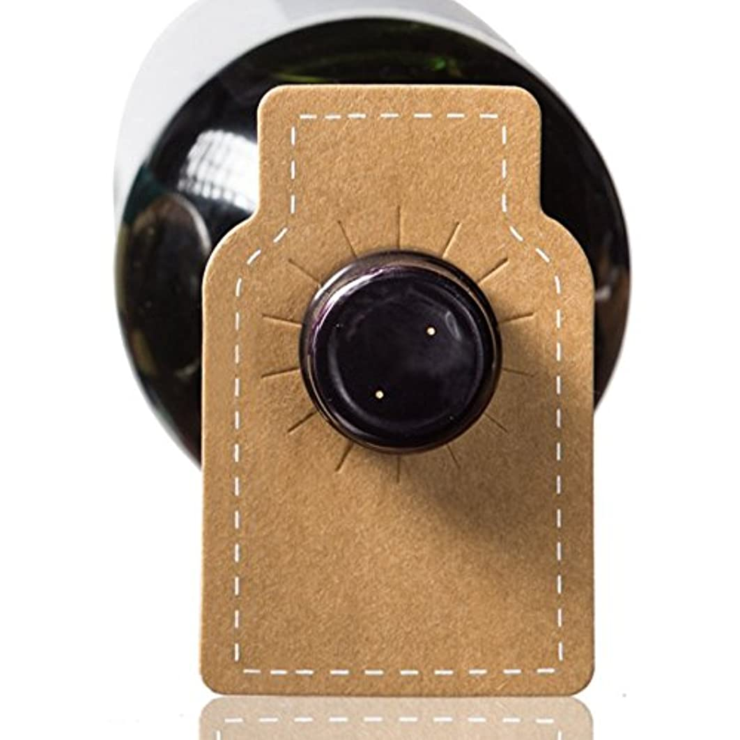 Home Affinity Wine Bottle Tags Kraft Leather Paper - 100 Count - Premium Wine Cellar Labels with Stitched Border
