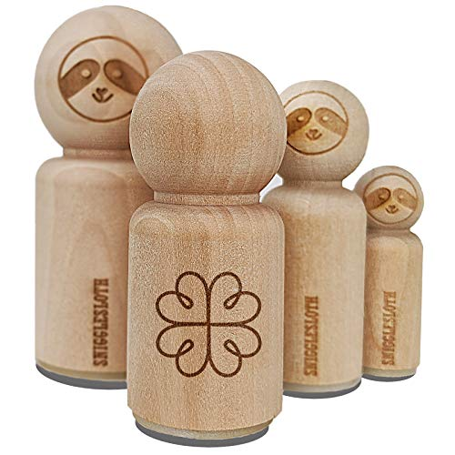 Four Leaf Lucky Clover Tribal Celtic Knot Rubber Stamp for Stamping Crafting Planners - 1-1/4 Inch Large