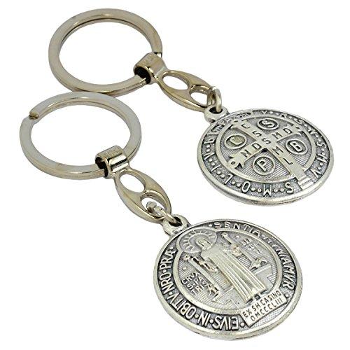 Benediktusmedaille Metall Schlüsselanhänger St Benediktus Medaille und Benediktuskreuz Anhänger, gewölbt, Ø 3,5cm