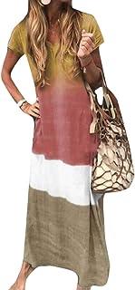 FSSE Women's Beach Dresses Gradient Color V Cut Crewneck Short Sleeve Maxi Long Dress