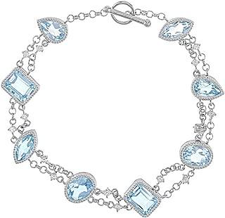 JTV Sky Blue Topaz Sterling Silver Bracelet 14.25ctw