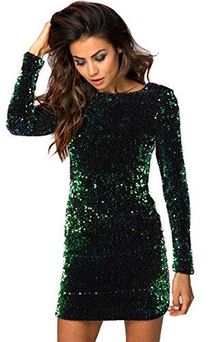 Moda a Maniche Lunghe Scollato sul Retro Brillante Sequin con Paillettes Glitterate Sequined Mini Corte Corta Bodycon Aderente Fasciante Dress Vestito Abito Verde XL