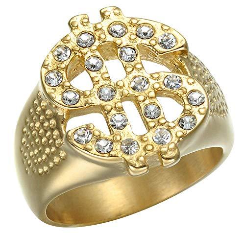 NA Anillos chapados en Oro de Diamantes de dólar Americano Huecos para Hombre en Acero Inoxidable