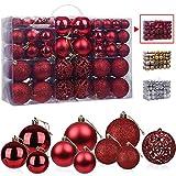 Bolas de Navidad Rojo 100 Piezas, VtaFu Bola del árbol de Navidad Adornos Navideños Juego de Adornos de Bolas de Navidad