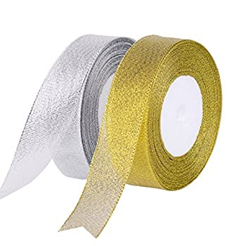 Feyarl Glitter Metallic Sparkle Ribbon 1-inch by 50-Yards Curling Ribbon for Gift Crafters Home Decoration Projects  Gold &Silver