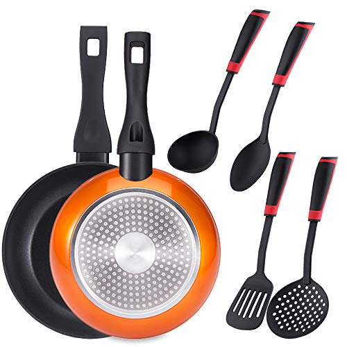 Bergner PK1928 Lot de 2 poêles 20 + 24 cm, aluminium forgé, induction, plus jeu de 4 ustensiles de cuisine, nylon, orange