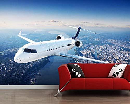 MINCOCO privé jet vliegtuig in de blauwe hemel 3D behang woonkamer tv bank muur slaapkamer muur papieren huisdecoratie muurschildering 350 x 245 cm.