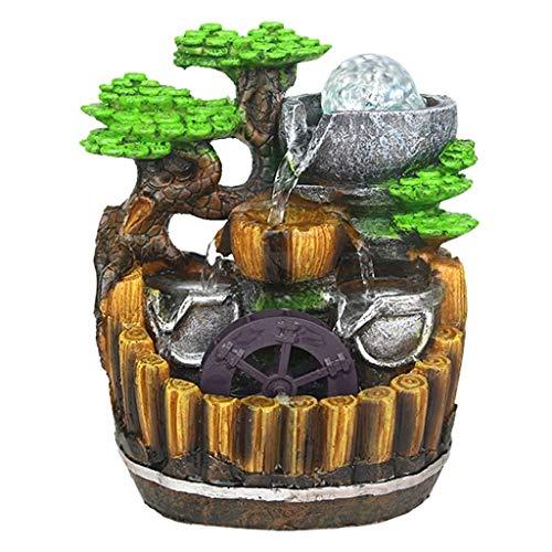 Desktop Fountain Resin Rockery Waterfall Tabletop Fountain Versierd met roterende kralen Soothing Sounds for Office & Home Decor Accessoires voor fonteinfonteinen in de tuin