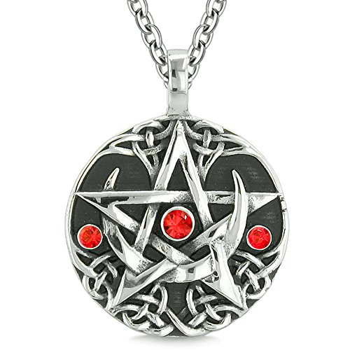 BestAmulets Amulet Pentacle Magic Super Star Celtic Flames Defense Red Crystals Pentagram Pendant 18 Inch Necklace