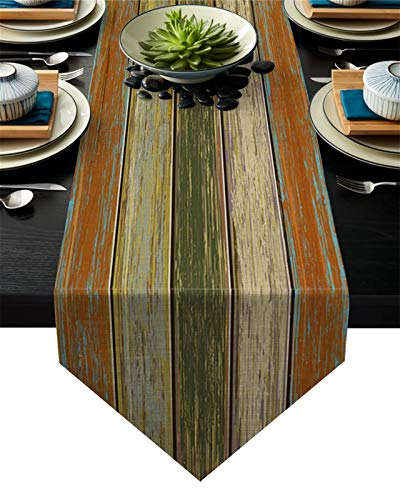 Table Runner Vintage Old Wooden Board Texture Hotel Family Dinner Table Flag Kitchen Table Decoration Table Runner Tablecloths (Size : 41x183cm)