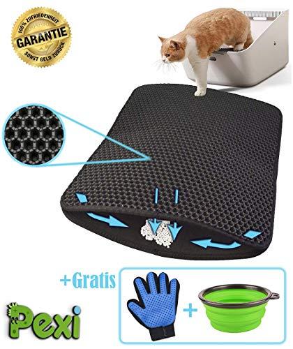 Pexi Katzenklo Matte, Katzenstreu Katzenklo Unterleger Waben Design Katzenklomatte Vorleger mit Bürste Handschuh, und Reisenapf