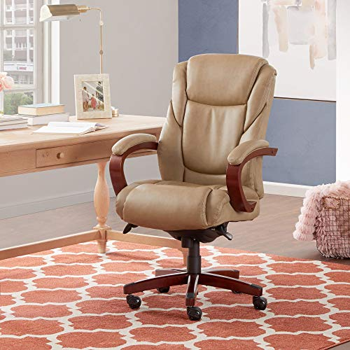 La-Z-Boy Miramar Executive Office Chair with Memory Foam Cushions, Brown Wooden Arms and Base, Beige