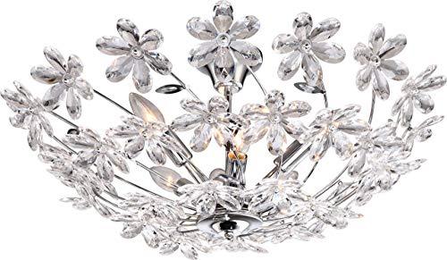 Elegante plafondlamp chroom acryl bloemen helder - Globo JULIANA 5132-6