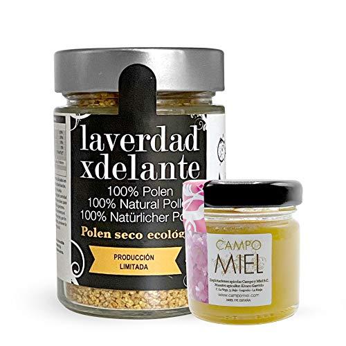 Polen de abeja ecologico 100% 225 Gr / Polen bio organico fresco en granos de flores Jara, moras y rosas de la Reserva de la Biosfera de La Rioja / Vitaminas y minerales naturales