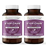 Secrets Of The Tribe - StopCarb, Carb Blocker Formula, Herbal Supplement Blend (2x120 Capsules)