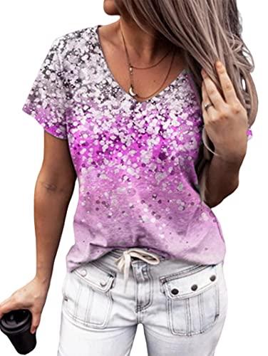 Manga Corta Mujer Personalidad Cómoda Verano con Cuello V Mujer Blusa Único Puntos Coloridos Diseño Mujer T-Shirts Diario Casual Transpirable All-Match Mujer Tops F-Purple 3XL