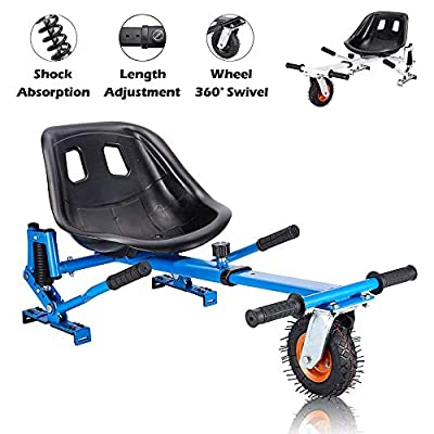 RunninFun Hoverboard Kart Go Kart Conversion Kit for Self Balancing Scooter, Hoverboard Seat Attachment, Hover Board Buggy Attachment Accessories, Fits All Heights & Ages 6.5'' 8'' 10'' Blue