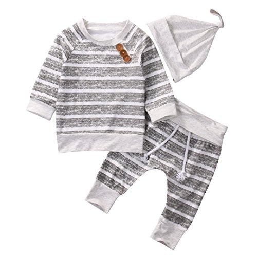 T TALENTBABY Recién Nacido Bebé Niños Niñas Conjuntos de Ropa Top a Rayas de Mameluco + Pantalones + Conjunto de Sombreros Conjuntos Generales, Gris Claro, 0-3 Meses