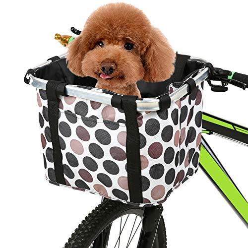 Lixada Cesta Plegable para Bicicleta con Estampado de Flores,Pequeña Mascota/Gato/Perro/Bolsa para Transporte,Cesta de Manillar de Bicicleta Desmontable (B)