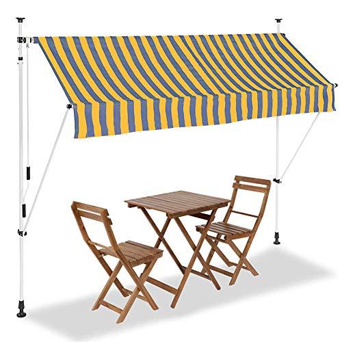 BAKAJI Tenda da Sole Balcone con Gambe di Supporto Regolabili Installazione ad Incastro Parasole Avvolgibile Esterno Giardino a Manovella Telaio in Alluminio Dimensione 250 x 185 cm (Giallo Blu)