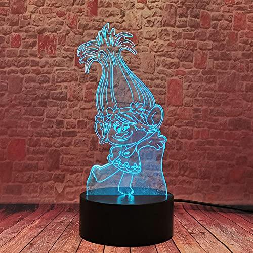 Lámpara de ilusión 3D Luz de noche LED Fighting Anime Escritorio 3D 7 Cambio de color Lámpara de mesa Trolls Figura de amapola Dormitorio Comedor Decoración Regalo de cumpleaños Juguetes para niños