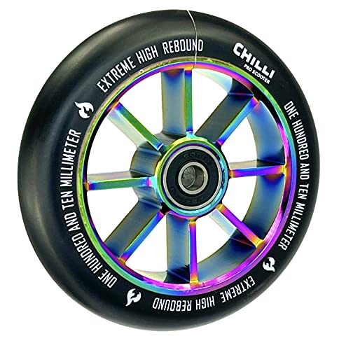 Chilli Pro - Rueda para patinete (110 mm, poliuretano neocromático), color negro