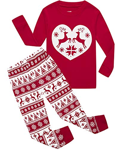 Girls Pajamas 100% Cotton Reindeer Toddler Clothes Kids Christmas Pjs Children Sleepwear Size 5 Red