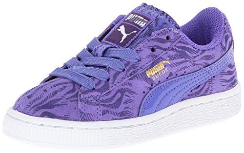 PUMA Suede Animal JR Sneaker (bambino/ragazzo), blu (Blu Iris/Paracadute Viola/Oro Foil), 36 EU