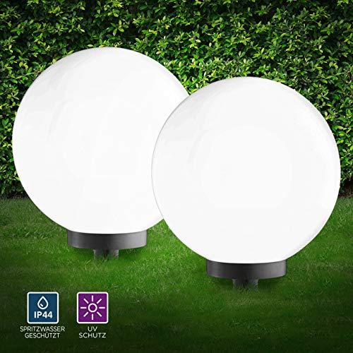 Kugelleuchte aussen, Gartenlampe 2er Set Ø50cm, weiß | Außenleuchte spritzwassergeschützt | Gartenleuchte, E27-Fassung | Kugellampe mit Erdspieß