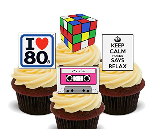 12 or 24 Pack of Edible 80s Cake Decorations. Made in the UK and suitable for vegetarians and vegans.