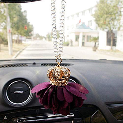 XVBTR Colgante Colgante de Coche Lady Crystal Diamond Crown Princess Flower Auto Espejo retrovisor Ajuste de decoración Accesorio Adorno Adorno Regalo de Moda Púrpura