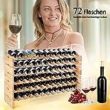 COSTWAY Weinregal Holz, Weinständer für 72 Flaschen, Flaschenregal 6 Höhe zur Auswahl, Holzregal stabil, Weinschrank Flaschenständer - 3