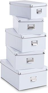 Zeller 17951 Ensemble de 5 Boites en carton blanc, 40x29x17 cm; 38x27x15 cm; 33,5x22,5x13,5 cm; 35,5x24,5x14,5 cm; 30,5x19...