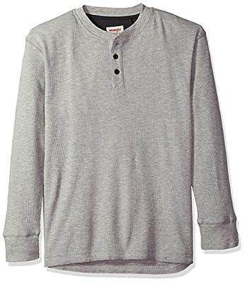 Wrangler mens Long Sleeve Waffle Henley Shirt, Light Heather Gray, XX-Large US
