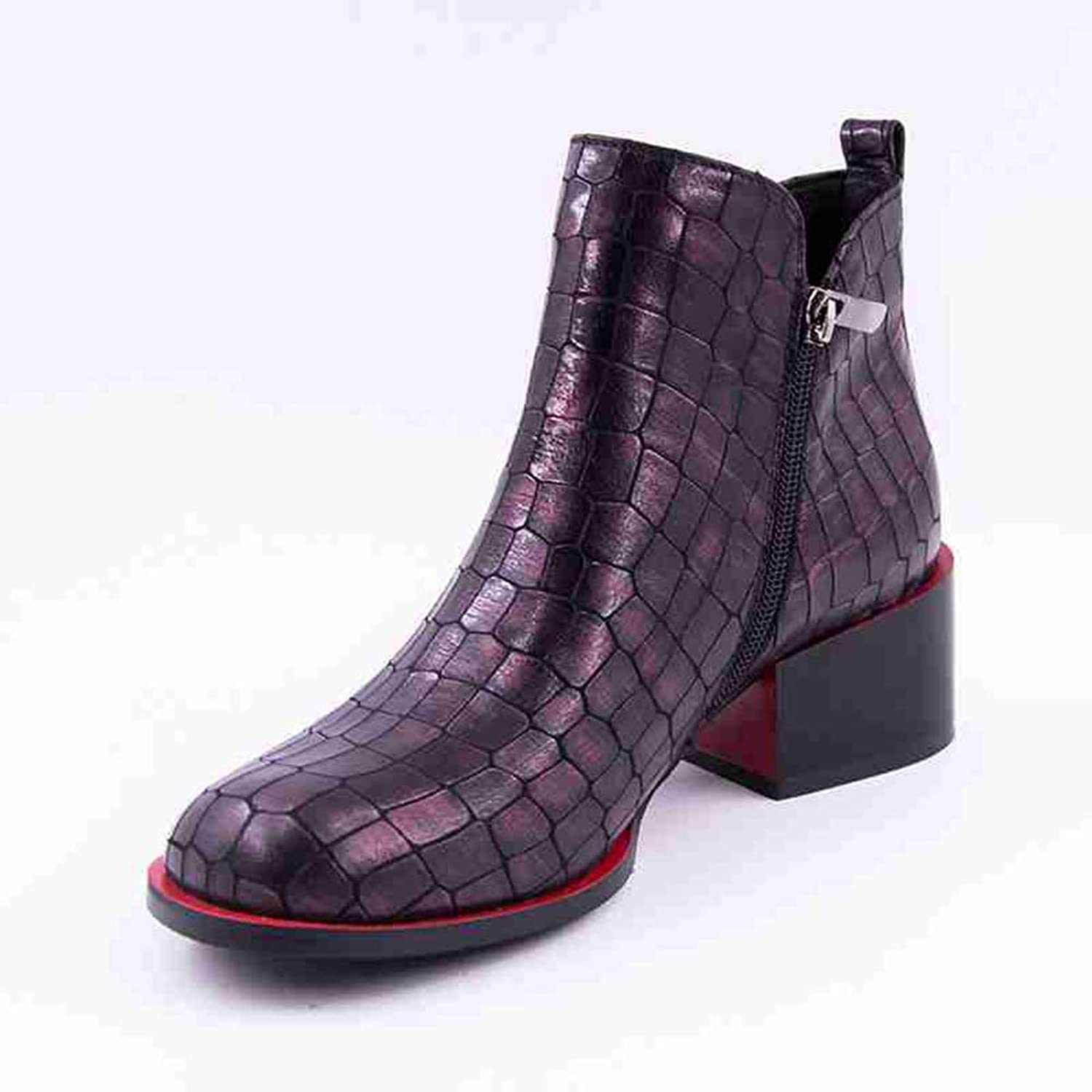 Zarbrina Womens Chunky Heel Platform Ankle Boots Fashion Round Toe Rubber Sole Short Plush Solid Zipper Up Slip On Winter Warm Snow shoes