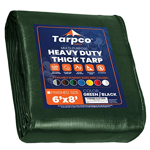 Tarpco Safety Extra Heavy Duty 14 Mil Tarp Cover, Waterproof, UV Resistant, Rip and Tear Proof, Poly Tarpaulin with Reinforced Edges for Roof, Camping, Patio, Pool , Boat (Green/Black 6′ X 8′)