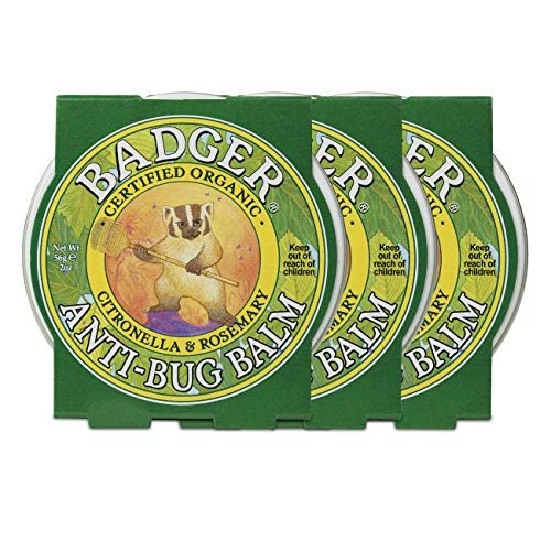 Badger - Anti-Bug Balm Tin, DEET-Free Mosquito Repelling Balm, Badger Balm Bug Repellent, Certified Organic Insect Repellent, 2 oz (3 Pack)