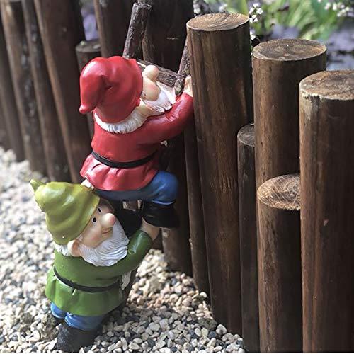 CNZXCO Jardín Gnome, Gnomo de jardín divertido, Escaleras De Escalada Gnomes Decoración, Gnomes De Jardín A Prueba De Intemperie, Figuras De Jardín Al Aire Libre, Tiempo De Escalada Estatua De Bonsais