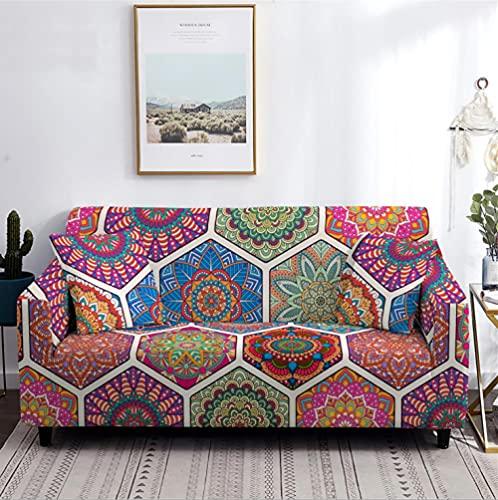 Antideslizante Funda de Sofá de 1 Plazas Patrón de Flores de Colores Funda Elástica sofá (Regalar 2 Funda de Cojines) Funda para Sofá Funda de sofá de Sillón Protector Cubierta de Muebles