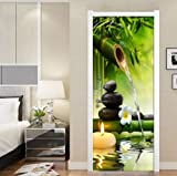 FLFK 3D Paisaje de bambú Verde Adhesivo Vinilos Puerta Pegatina Pared Murales para Cocina Sala de Baño Decorativos 77X200cm