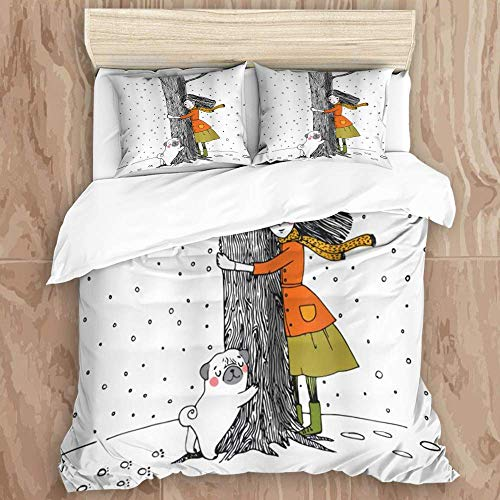Knncch Duvet Cover Set,A Young Girl and a Cute Pug Dog Holding a Tree in The Snowy Weather,Decorative 3 Piece Bedding Set with 2 Pillow Shams