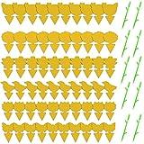 Komake 70 Piezas de Trampa para Moscas Colgando y Placas Amarillas enchufables Planta de protección de Pegatina Amarilla de los pulgones Mosquitos, Moscas de Hoja y Moscas Blancas